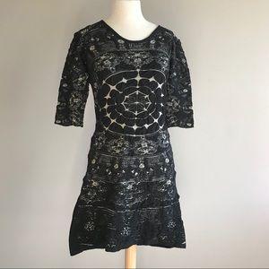 Desigual black geometric wearable art mini dress